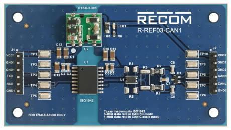 Referenceboard for isoleret ISO1042 CAN transceiver
